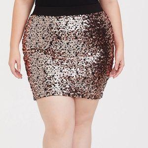 Torrid Rose Gold Sequin Mini Skirt